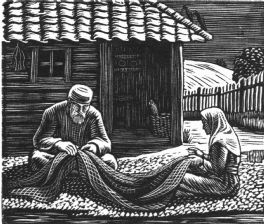 wood-engraving print: Mending Nets for The Bird Talisman